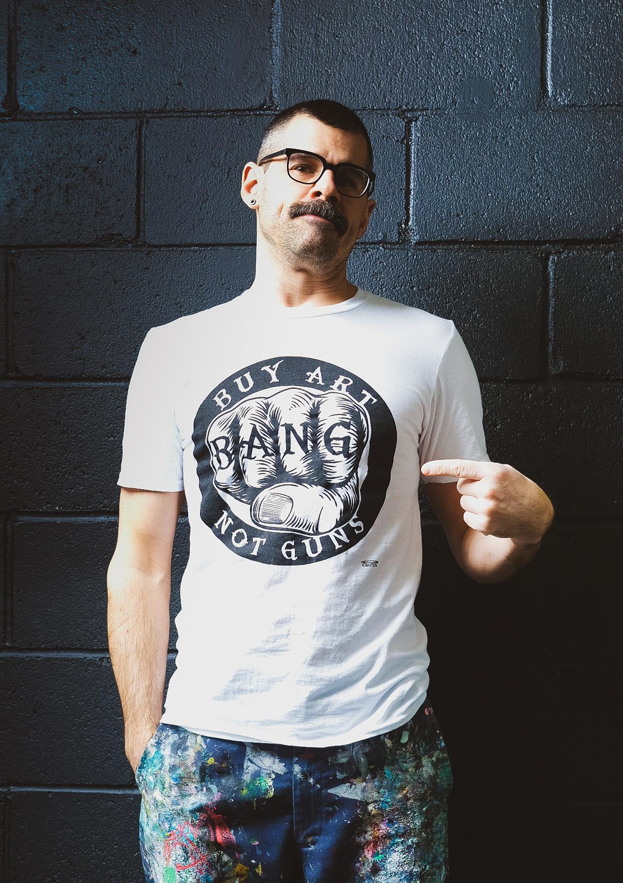 BANG Buy Art Not Guns tshirt